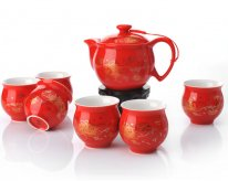 Qi Tou Mu Dan - Bone China Tea Set
